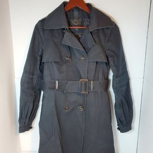 Mackage double breasted belted trench coat black